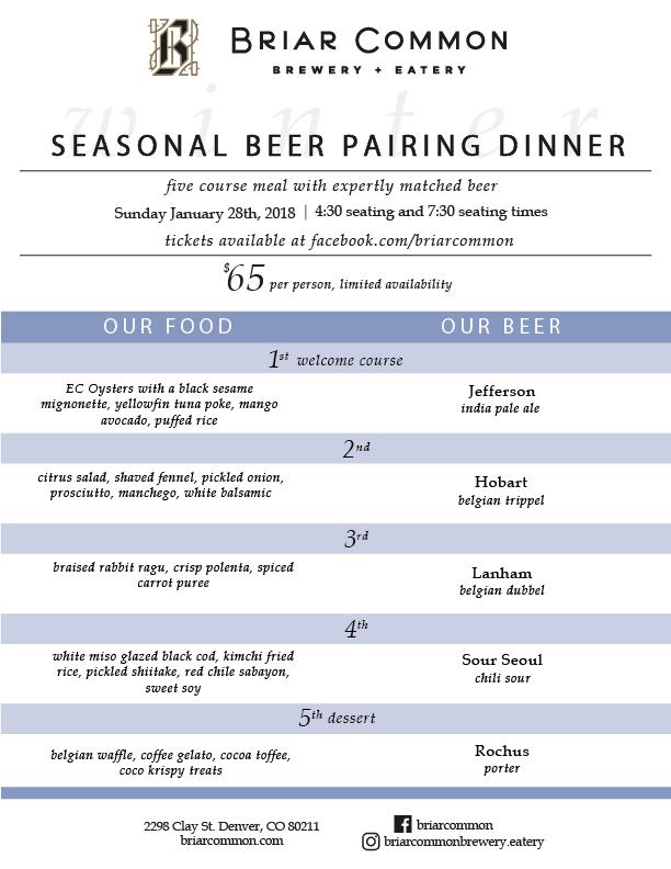 Winter Beer Pairing Dinner Menu