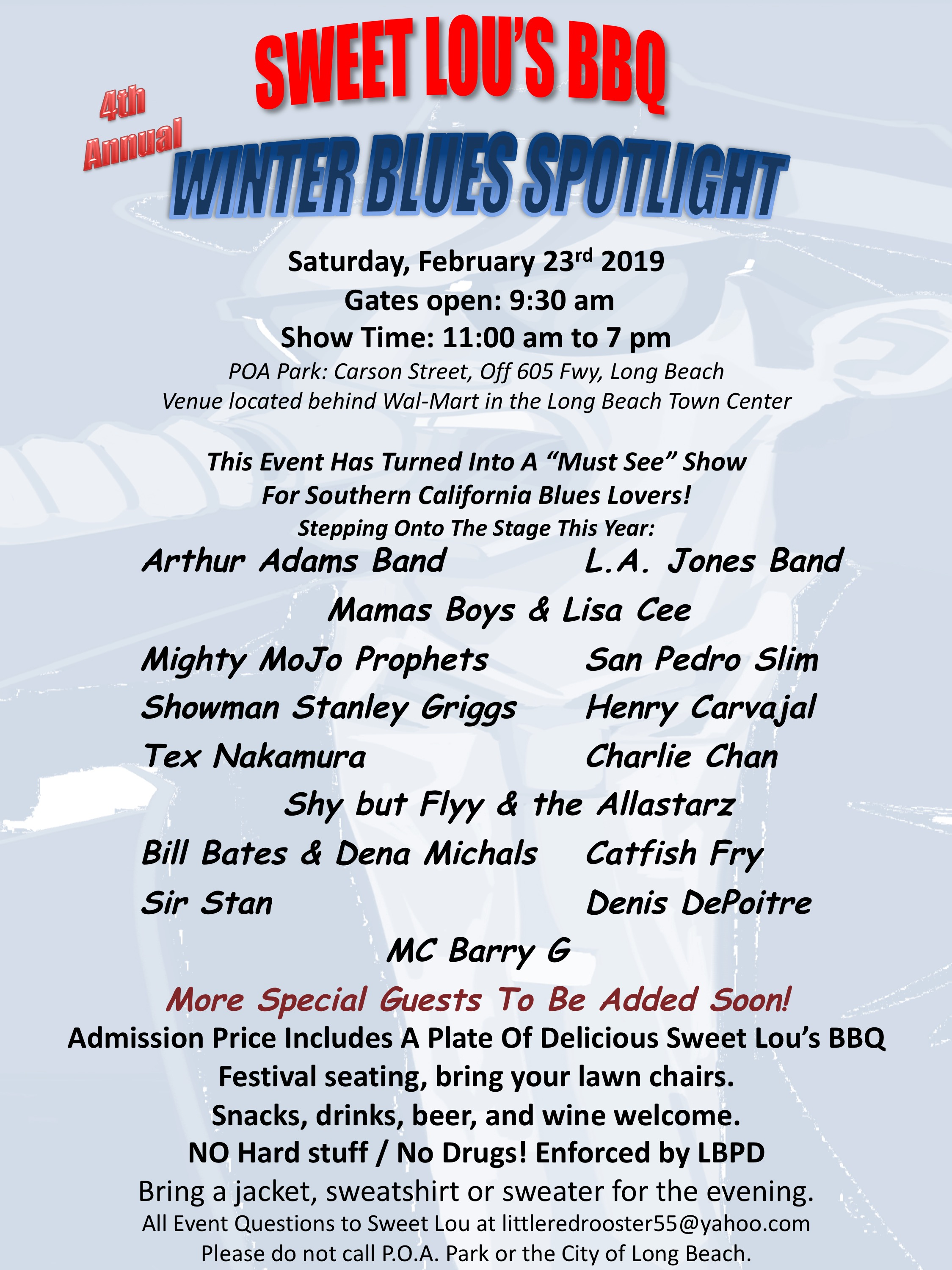 Sweet Lou's BBQ 4th Annual Winter Blues Spotlight Saturday, February 23rd 2019