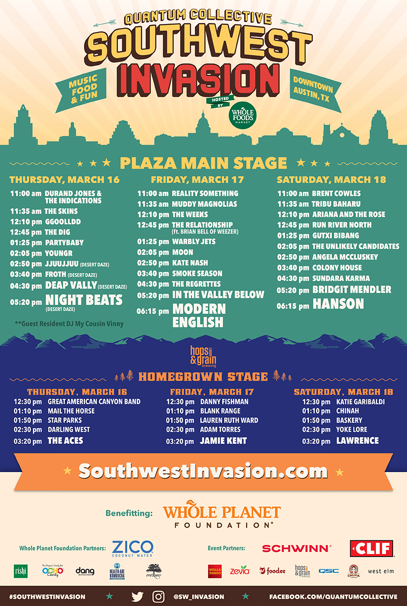 Southwest Invasion 2017 - Artist Lineup and Set Times
