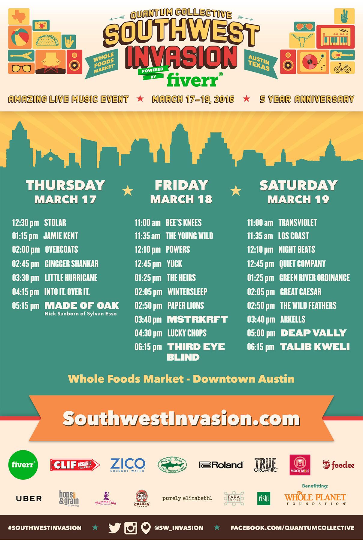 Southwest Invasion 2016 - Full Artist Lineup