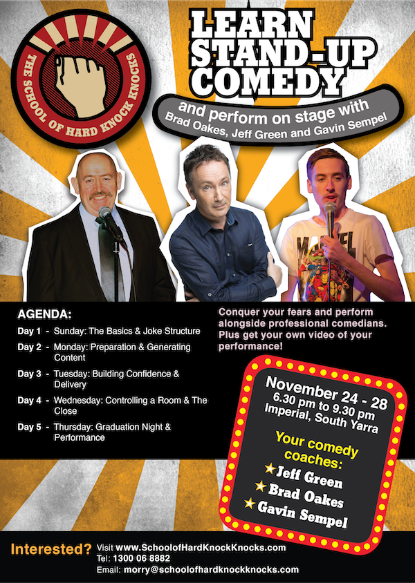 Learn stand-up comedy in Melbourne in November with Jeff Green