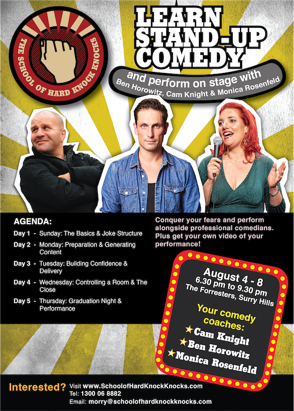 Learn stand-up comedy in Sydney - August - 2019