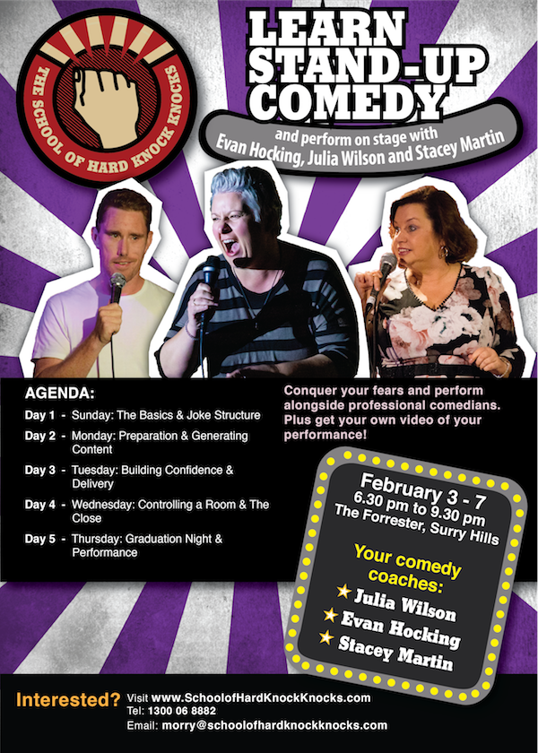 Learn stand-up comedy in Sydney February 2019