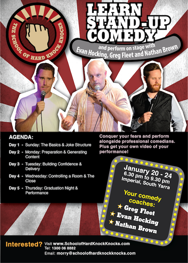 Learn stand-up comedy in Melbourne with Greg Fleet