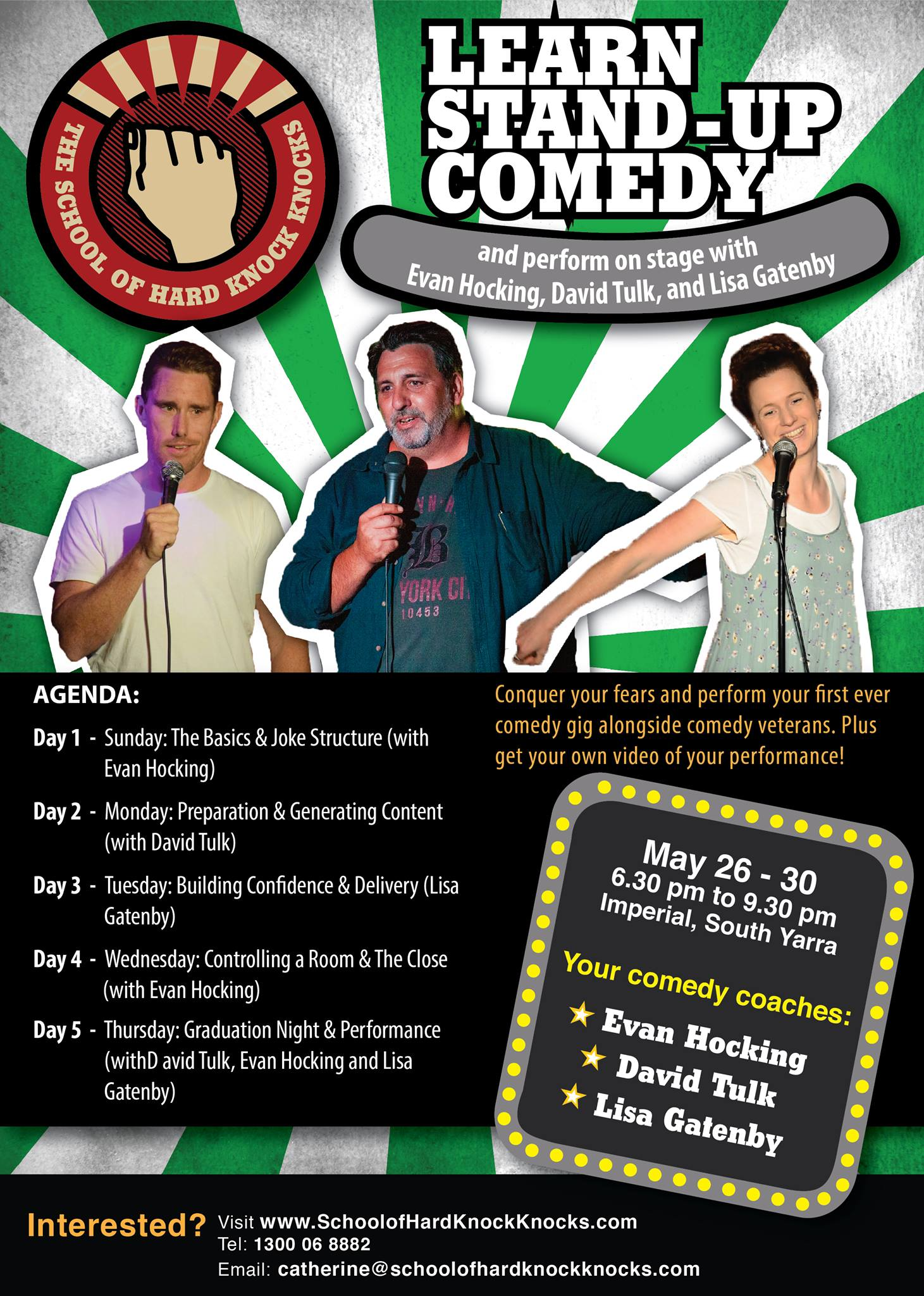 Learn stand-up comedy in Melbourne - School of Hard Knock Knocks