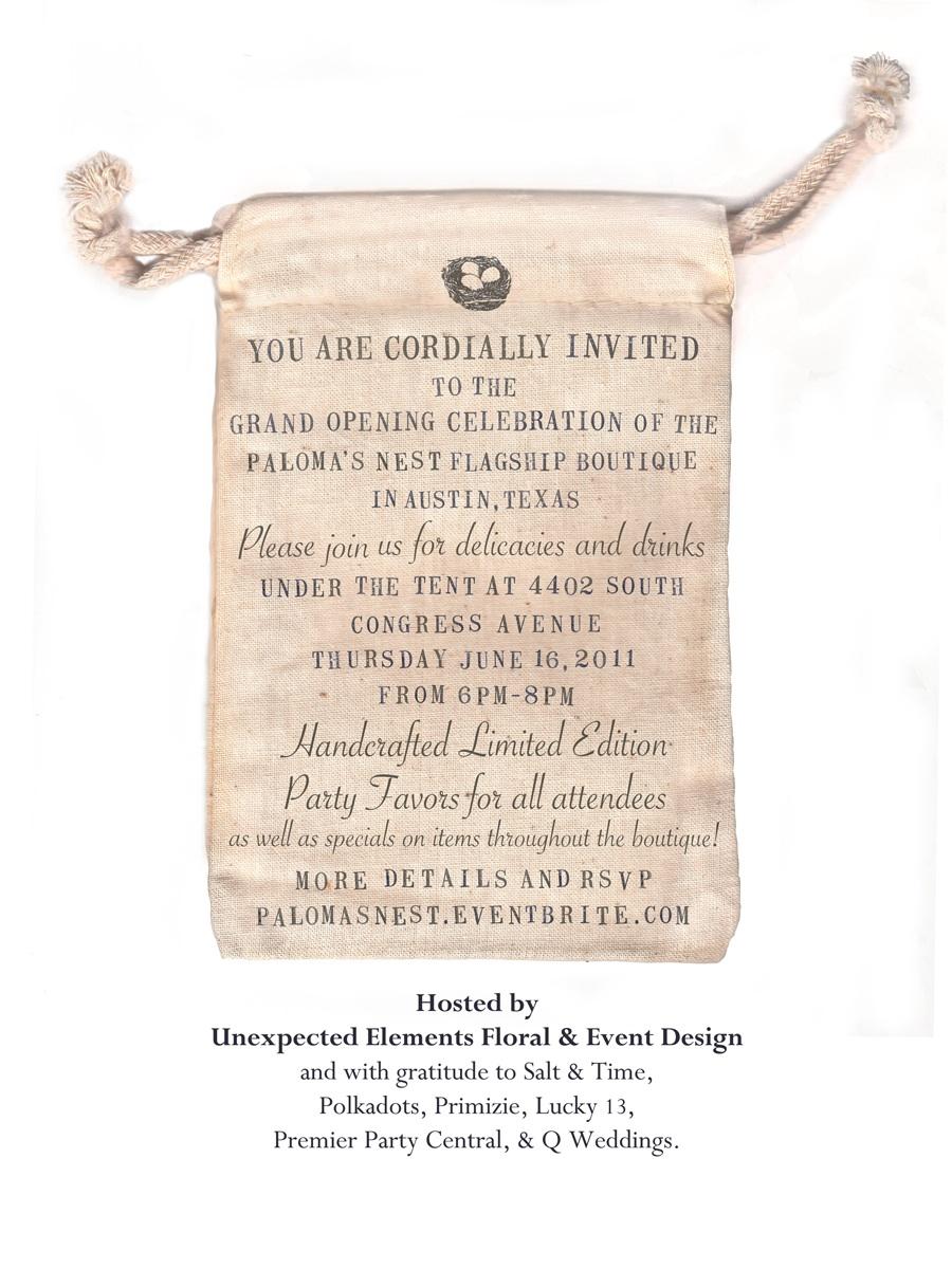 Paloma's Nest Grand Opening Celebration Invitation
