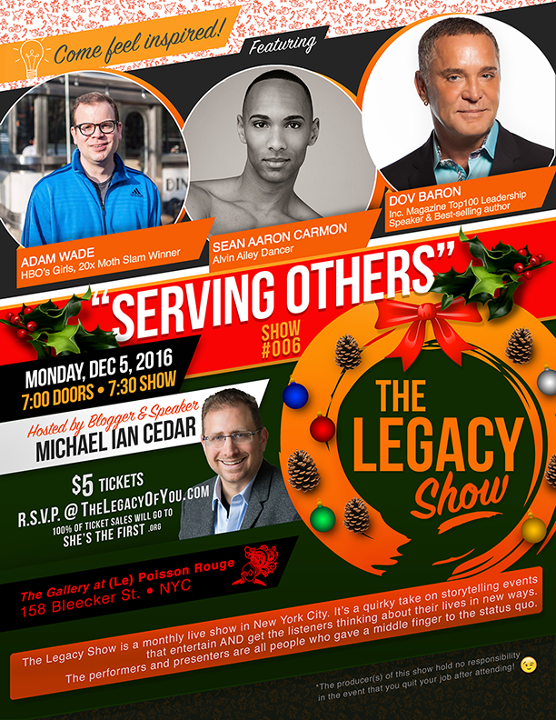 The Legacy Show - Serving Others hosted by Michael Ian Cedar - Guests include Adam Wade, Sean Aaron Carmon, Dov Baron