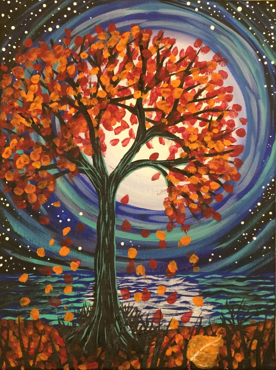 Painting of fall colours tree under full moon with stars