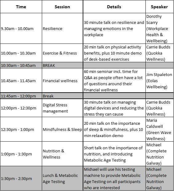 Schedule of taster workshops