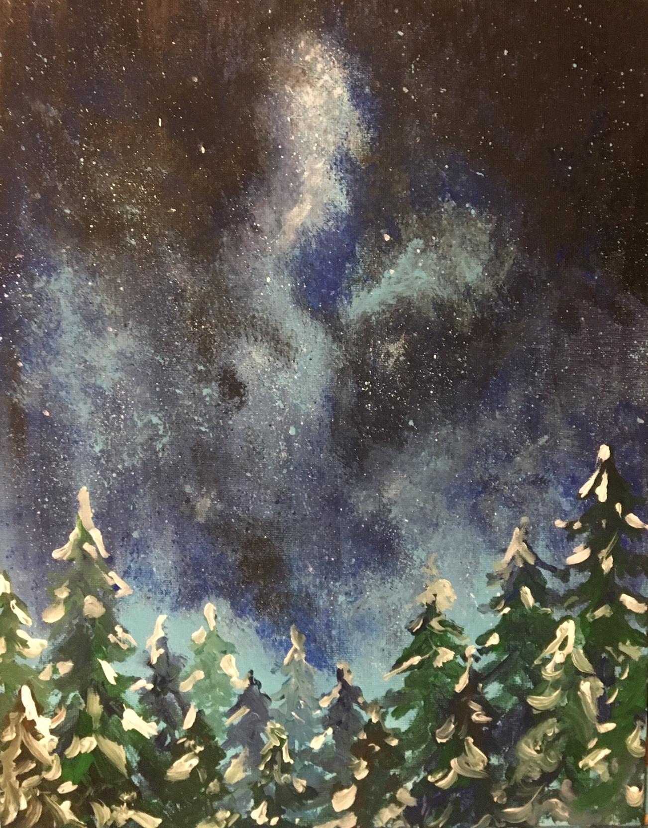 winter forest night paint-along - farnsworth house inn tavern