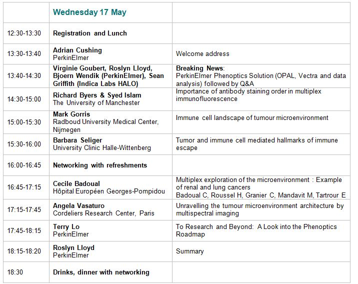 Wednesday 17 Agenda