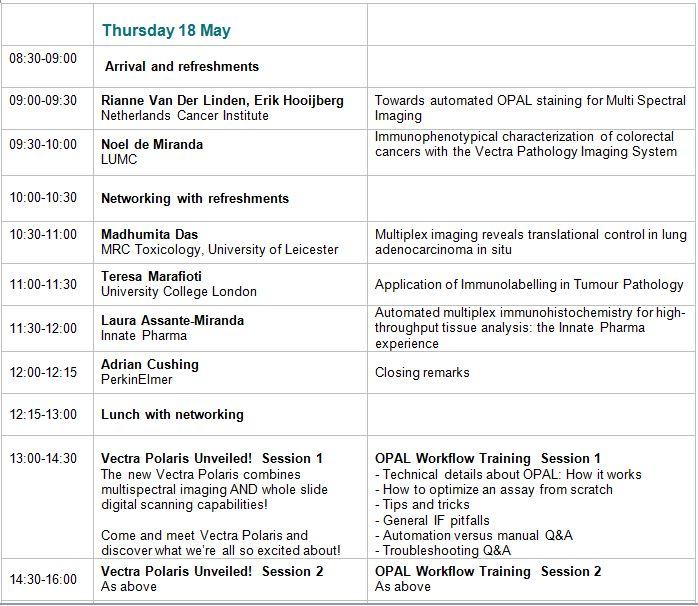 Thursday 18 Agenda