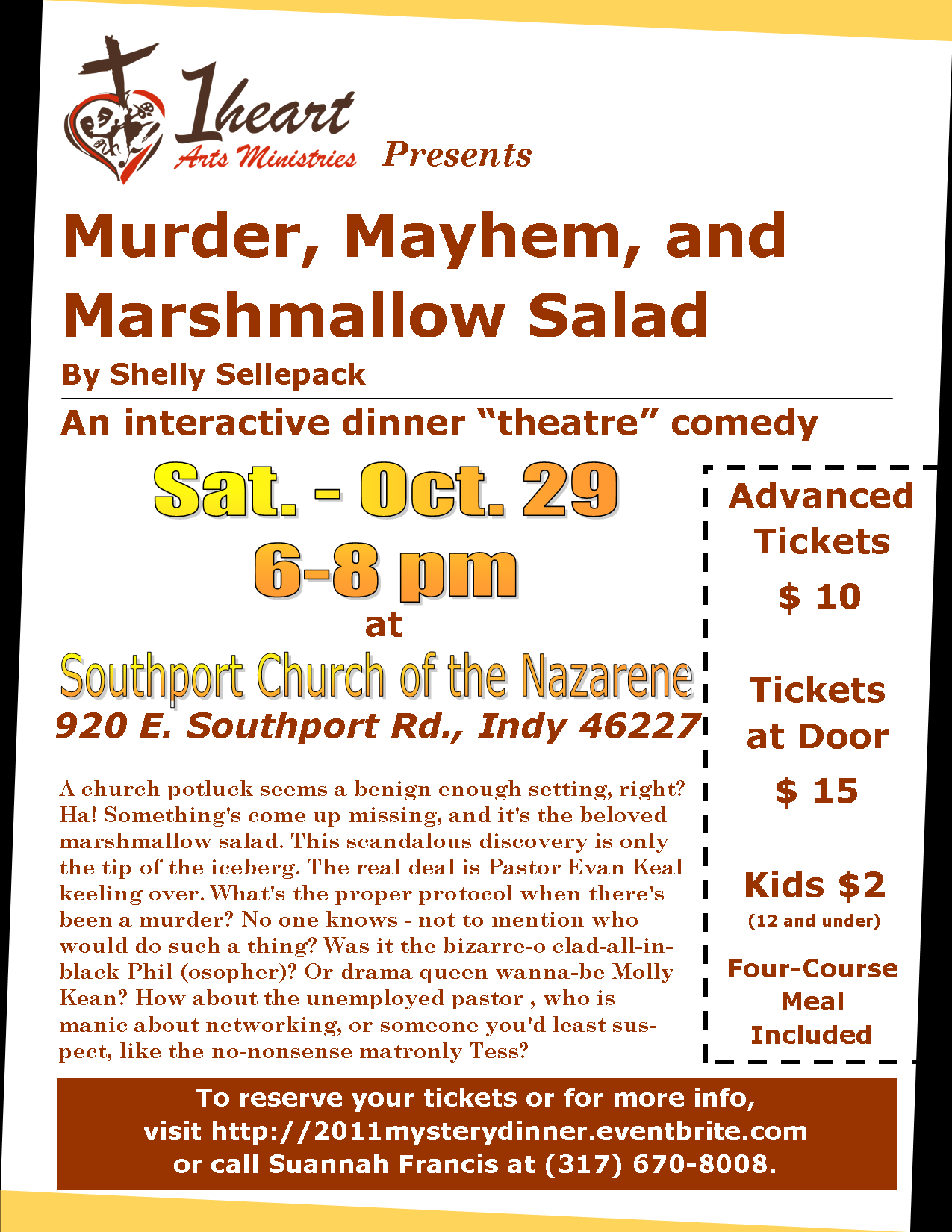 Mystery Dinner Fundraiser - Oct. 29 6-8pm