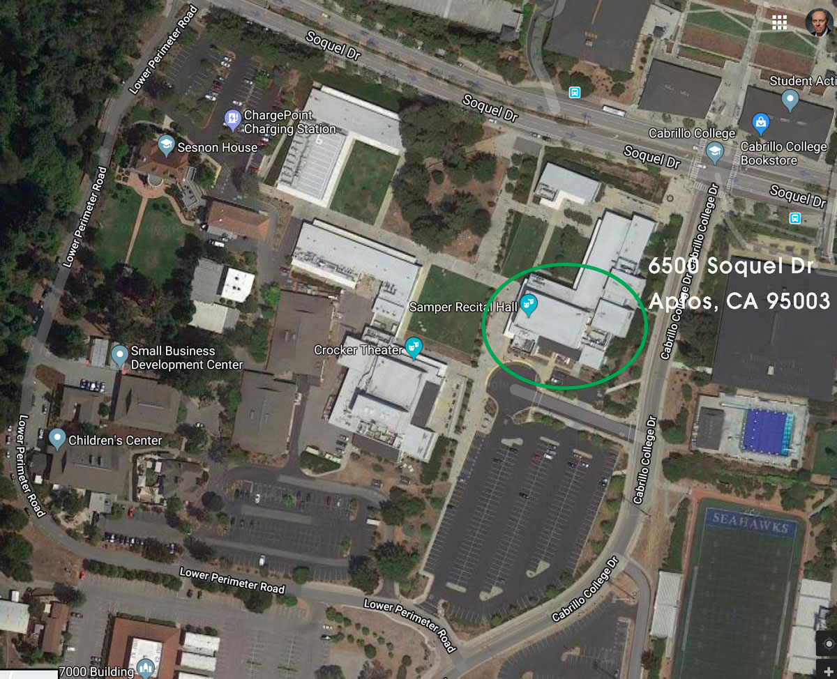 Google Earth view of Samper Recital Hall