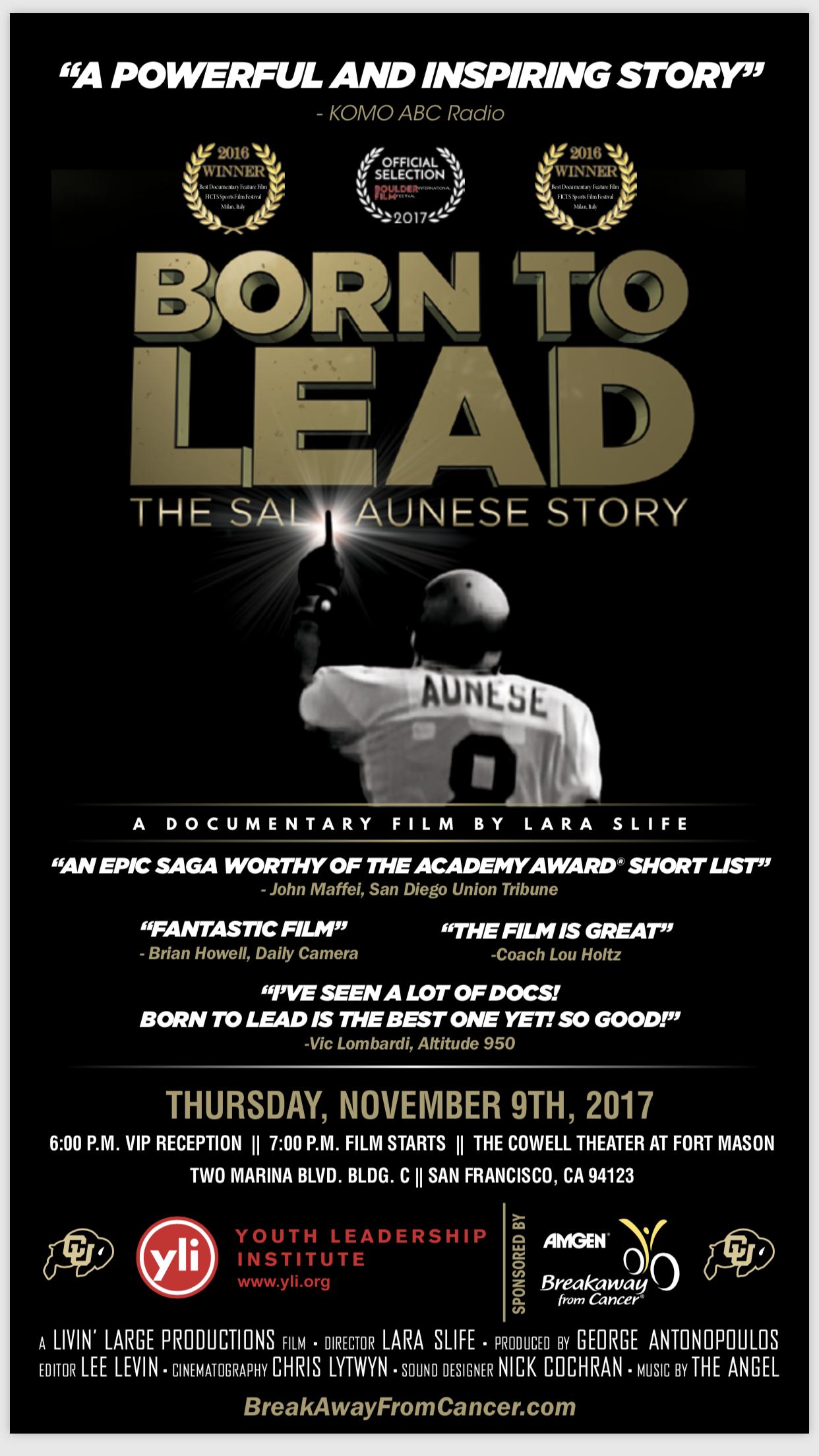 Born to Lead the Sal Aunese Story Film Screening Nov 9 Fort Mason
