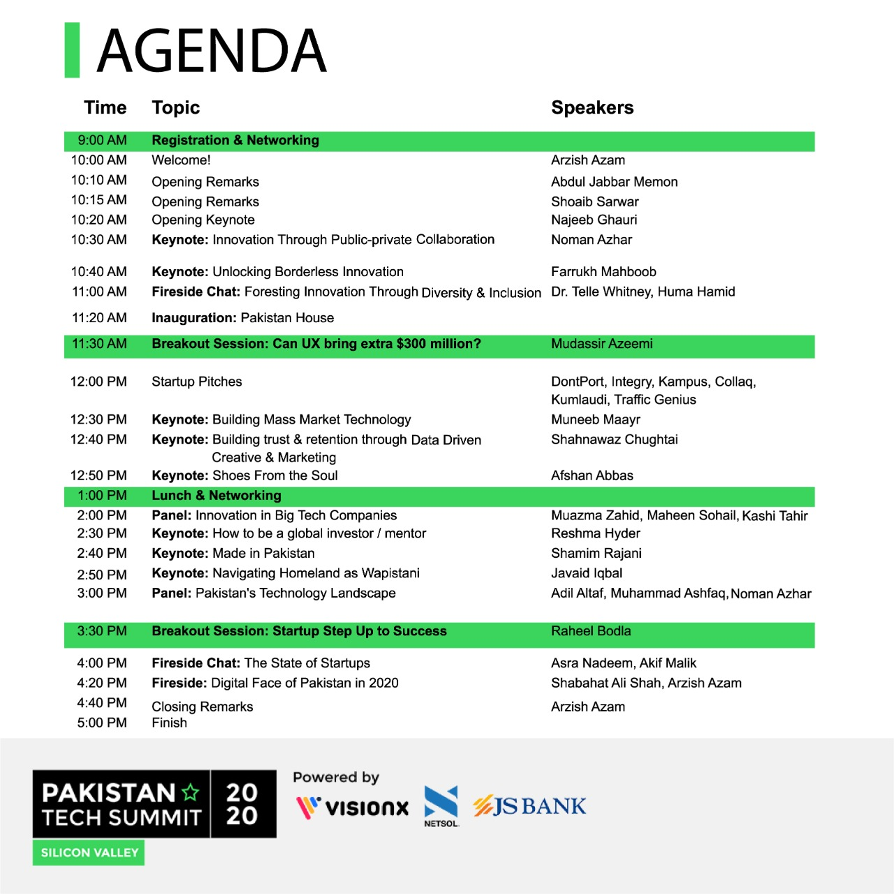 Pakistan Tech Summit - Agenda