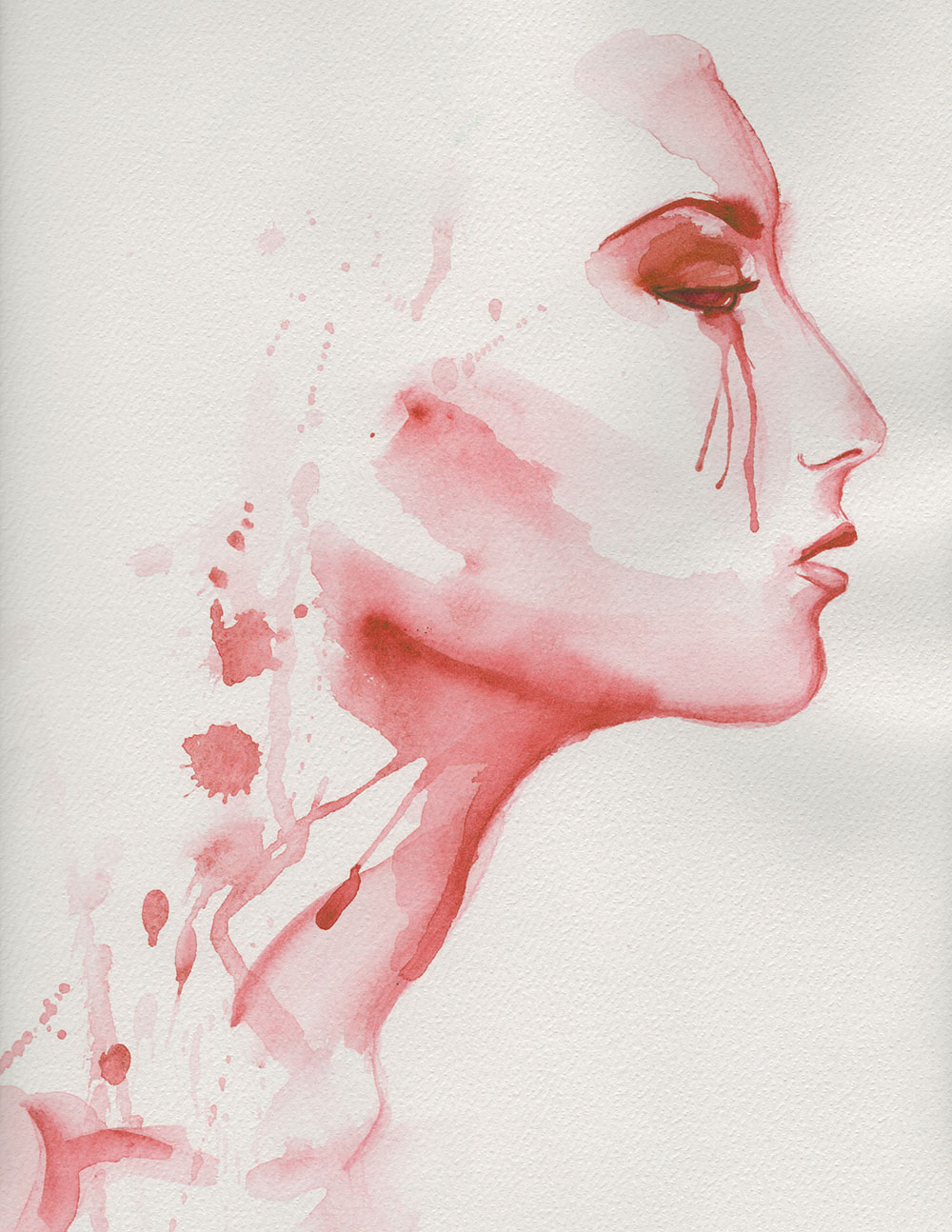 image of a Gil crying painted with red wine