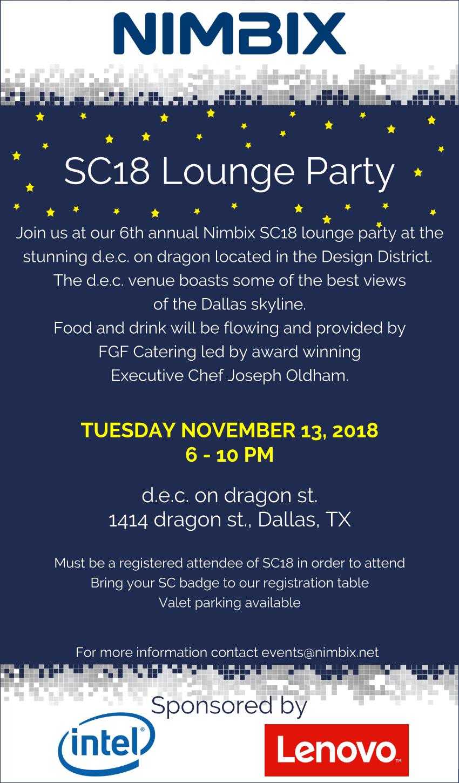 Nimbix SC18 Lounge Party Invite