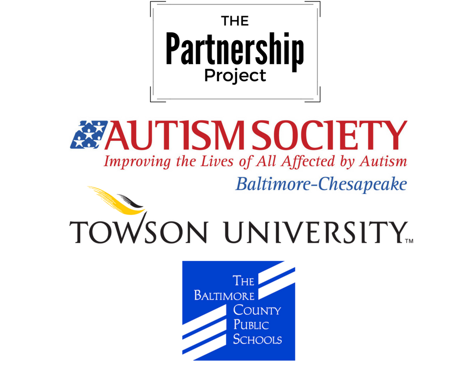 Logos for BCPS, Towson University and Autism Society of Baltimore