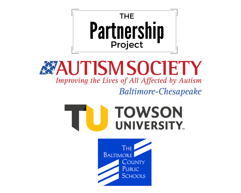 Autism Society, Towson University and BCPS logos
