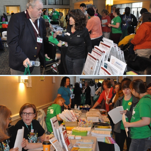 people receiving information from resource fair