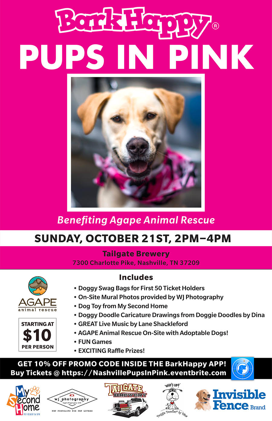 Barkhappy Nashville Pups In Pink Benefiting Agape Animal Rescue