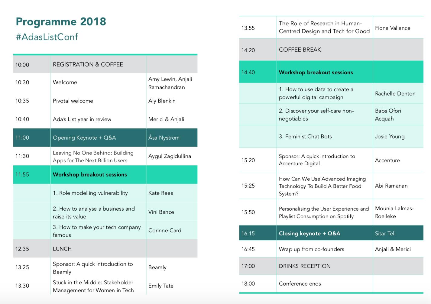 Ada's List Conference 2018 Agenda