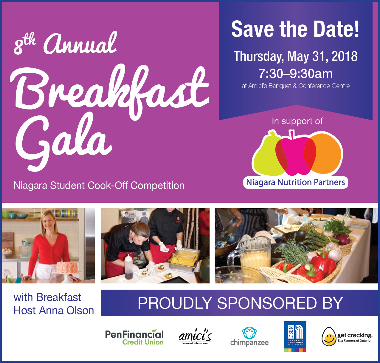 Save the Date for our 8th Annual Breakfast Gala & Student Cook-Off Competition - May 31st, 2018 at 7:30am