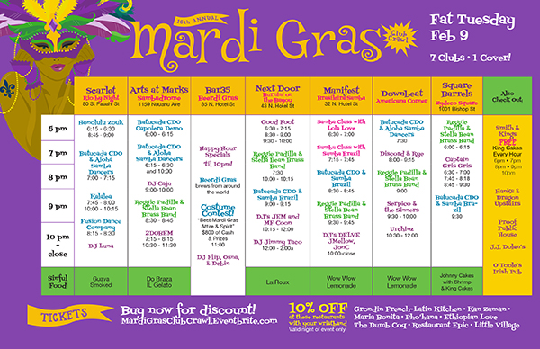 Schedule - Mardi Gras Club Crawl 2016
