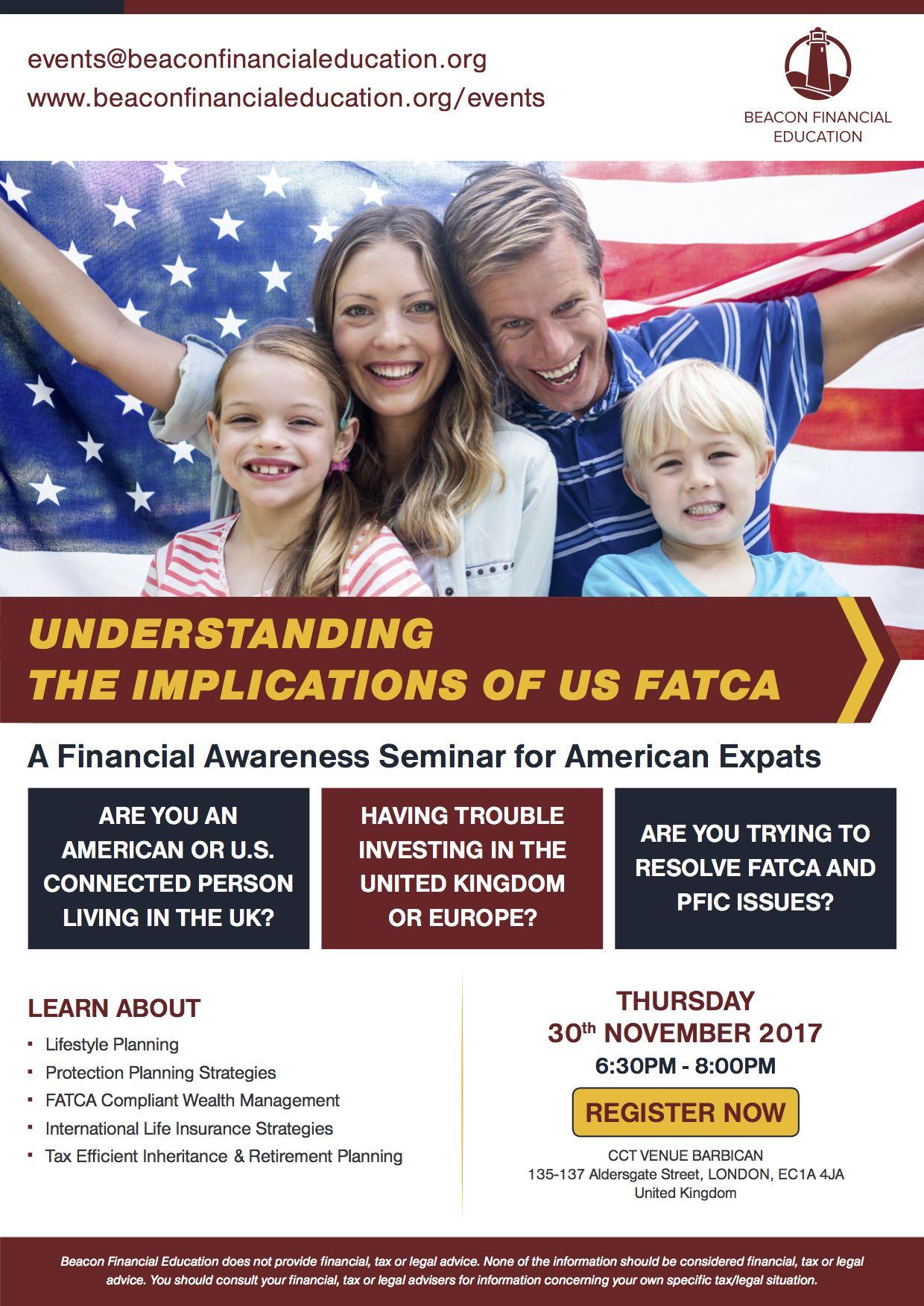 US FATCA seminar London 30 Nov 2017