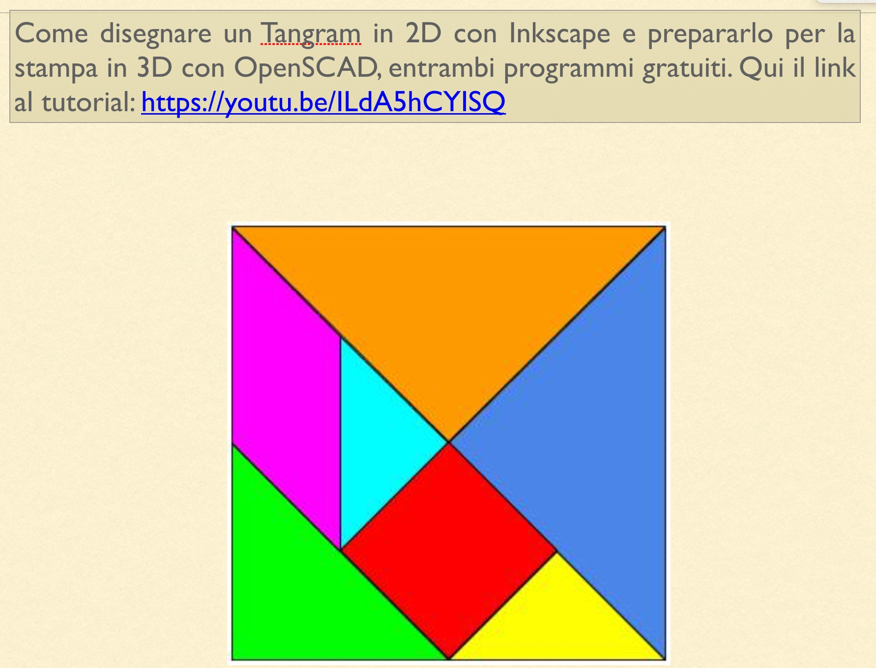 Costruzione del Tangram in 3D