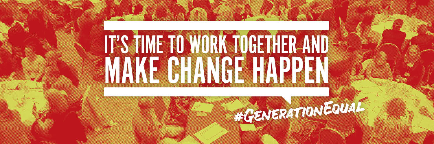 An image of the NACWG Circle with the caption 'It's time to work together and make change happend' -#GenerationEqual
