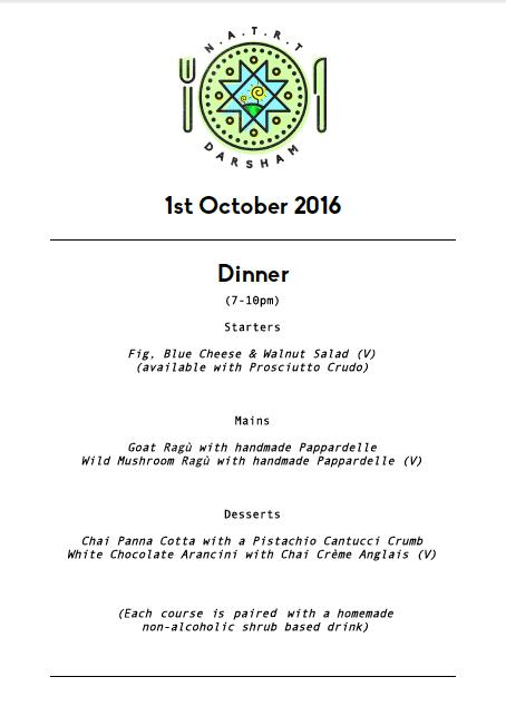 Darsham Dinner Menu