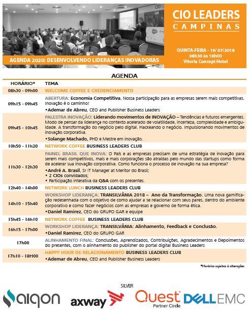 Agenda CIO Leaders Campinas 2018