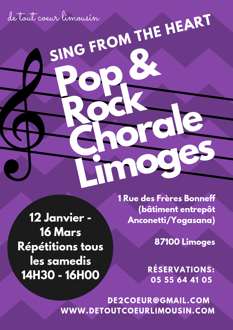 sing from the heart pop and rock choir chorale Limoges