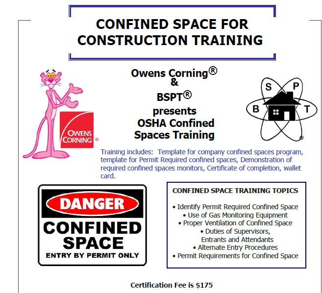 Confined Space Training Certificate