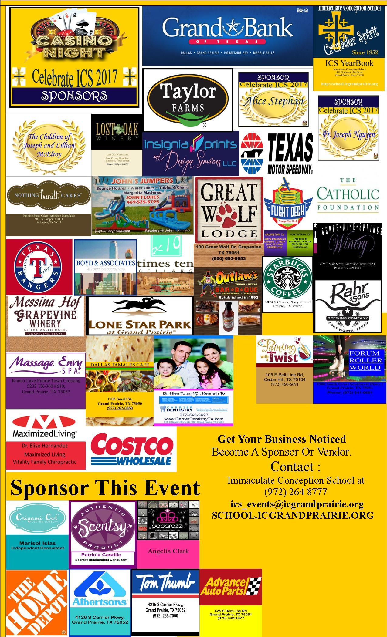 ICS Casino Night Sponsors/ Vendors