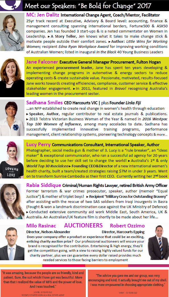 International Womens Day 2017 - #BeBoldForChange meet the speakers #IWD2017MelbourneStyle