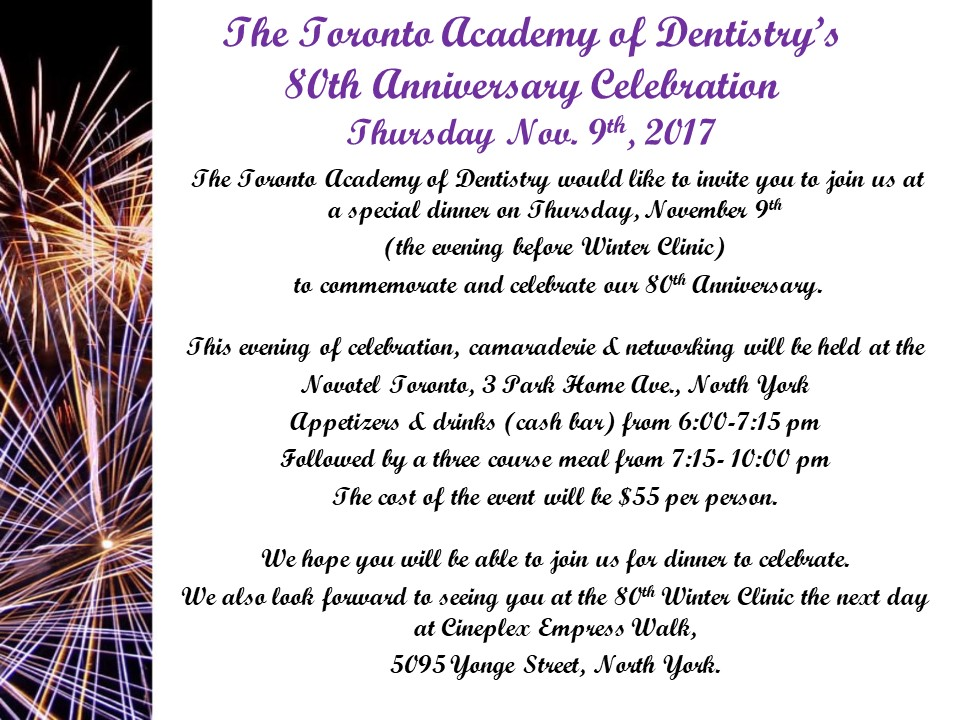 Toronto Academy Of Dentistry 80th Anniversary Celebration Tickets