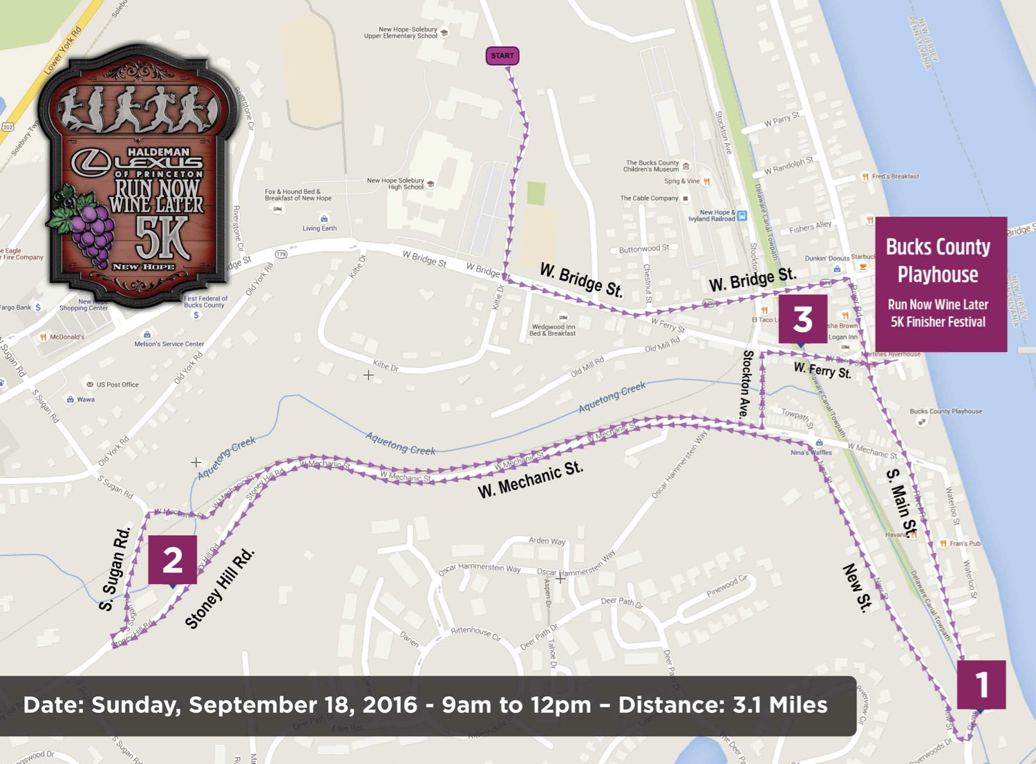 Run Now Wine Later 5K Course Map