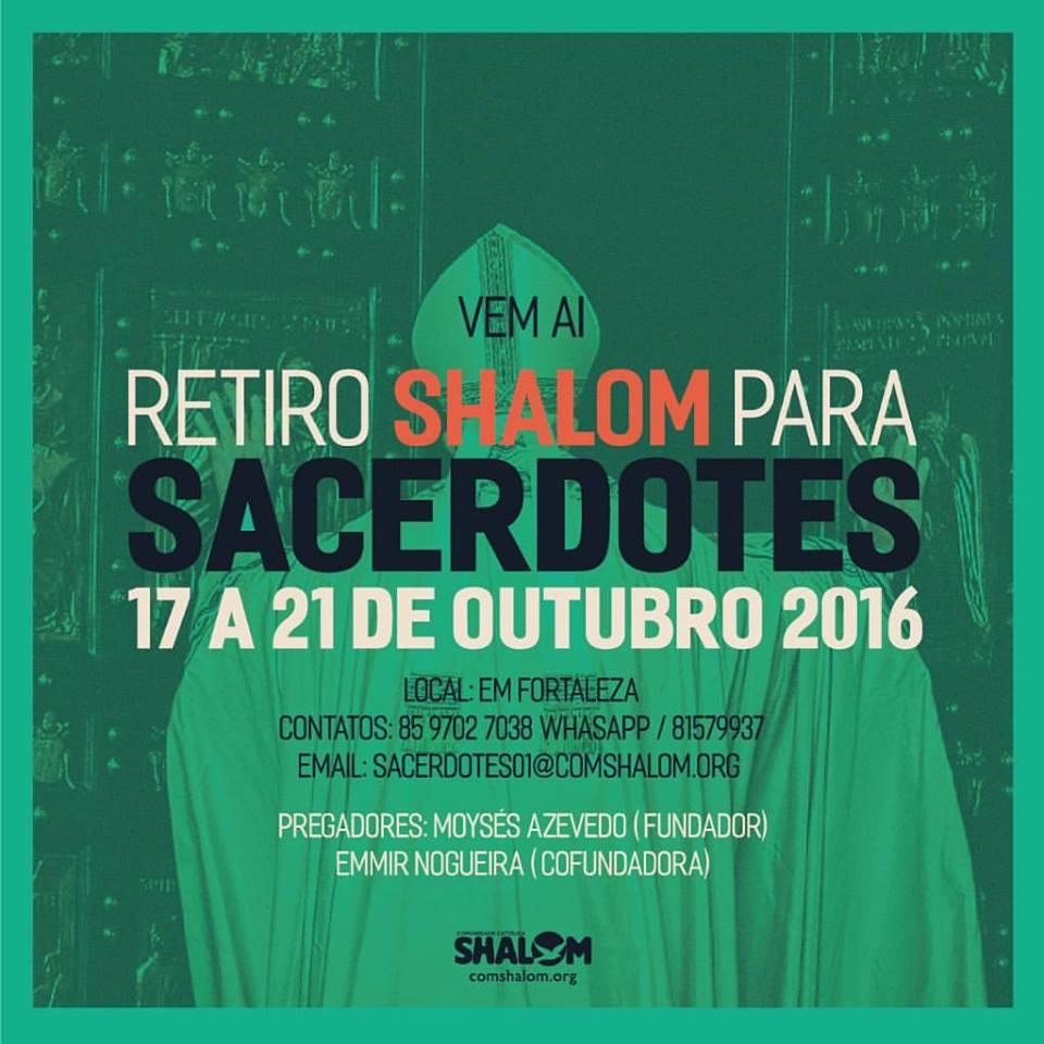 retiro para padre, pároco, sacerdote, bispo, diácono permanente, comunidade shalom, espiritualidade