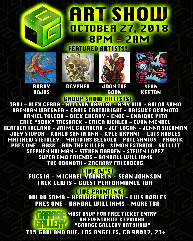 Garage Gallery October 2018 Flyer