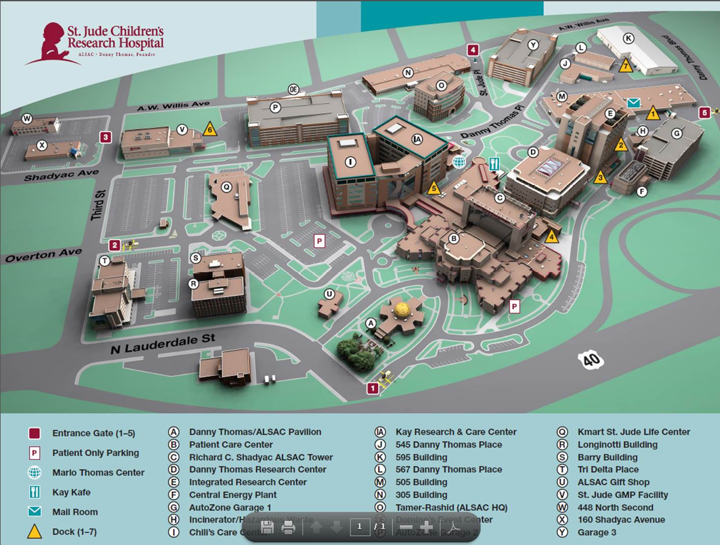 Map of St. Jude's Campus