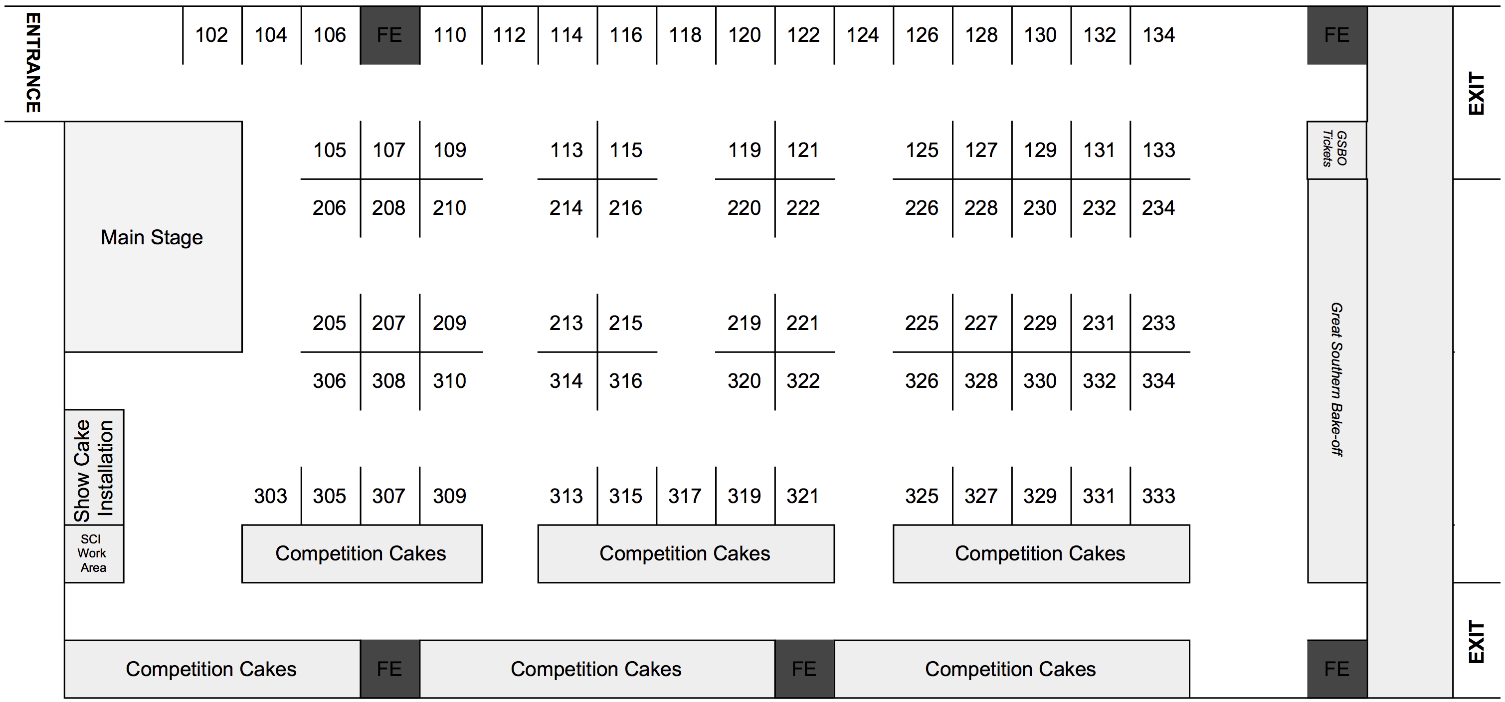Tentative floor plan for Atlanta's Largest Cake Show at the Cobb Galleria in September 2020!