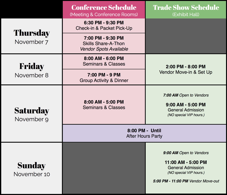 Vendor schedule for Atlanta's Largest Cake Show at the Cobb Galleria in November 2019!
