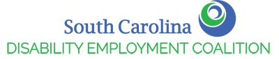 South Carolina Disability Employment Coalition Logo with a green circle surrounded by a blue circle