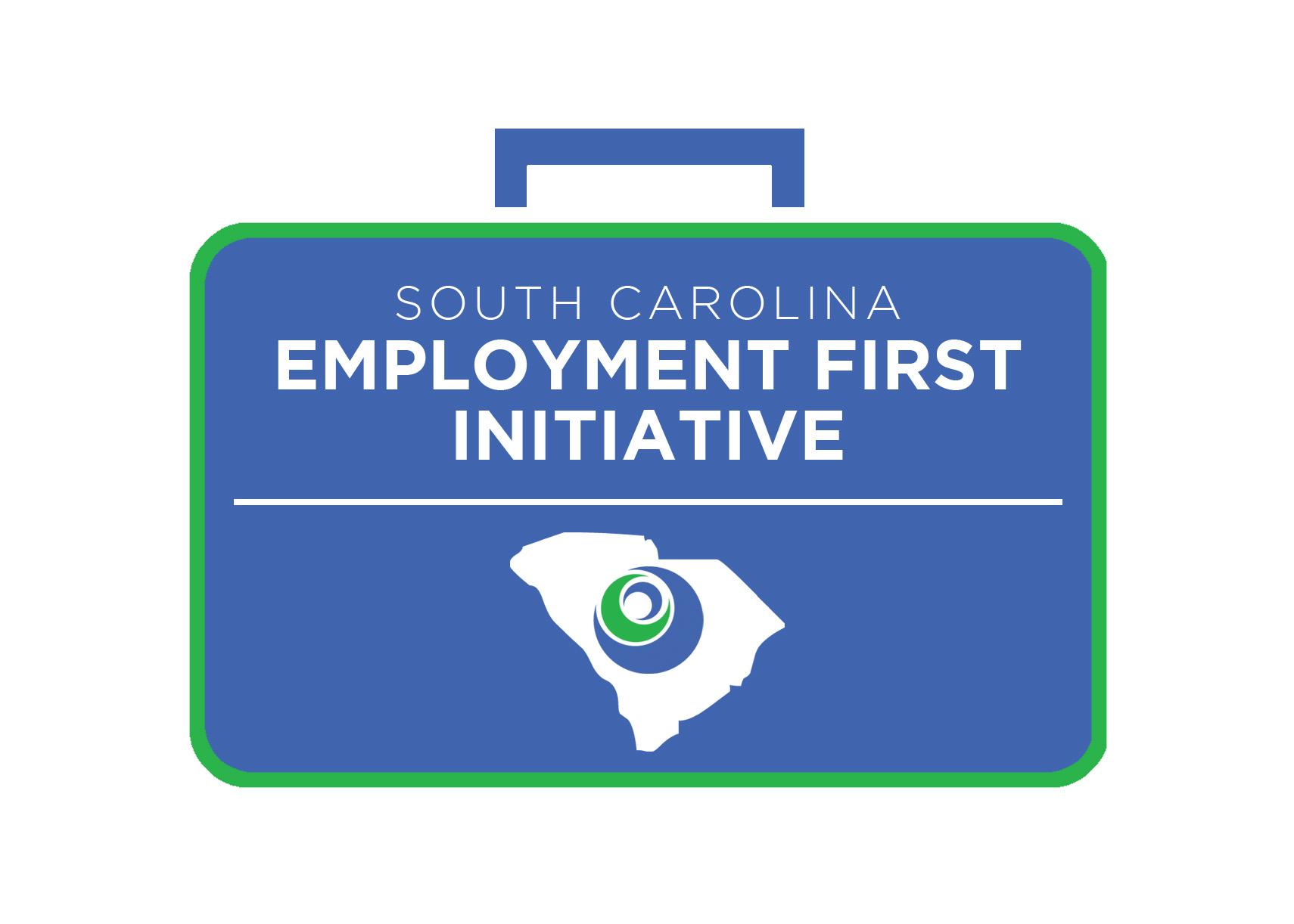 Employment First Initiative logo in a blue suitcase