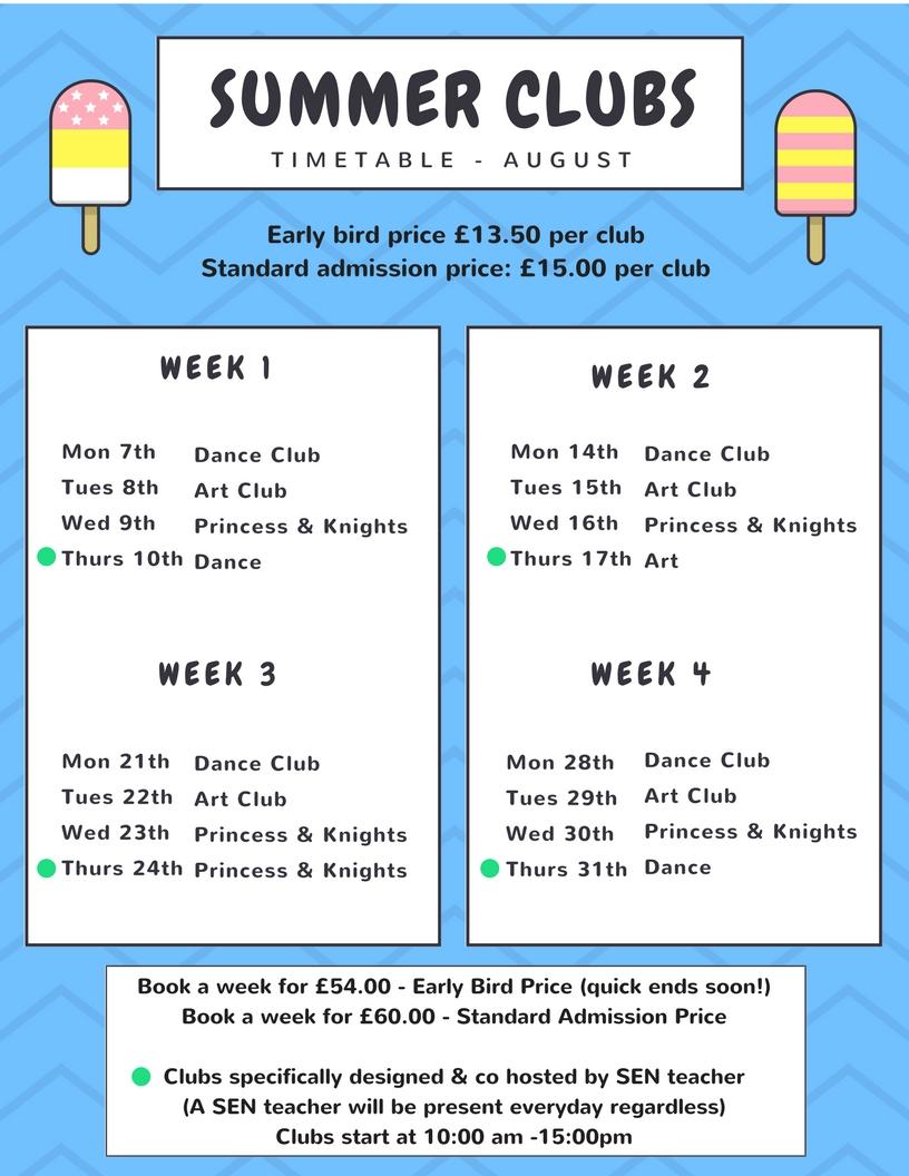 Summer Club Timetable