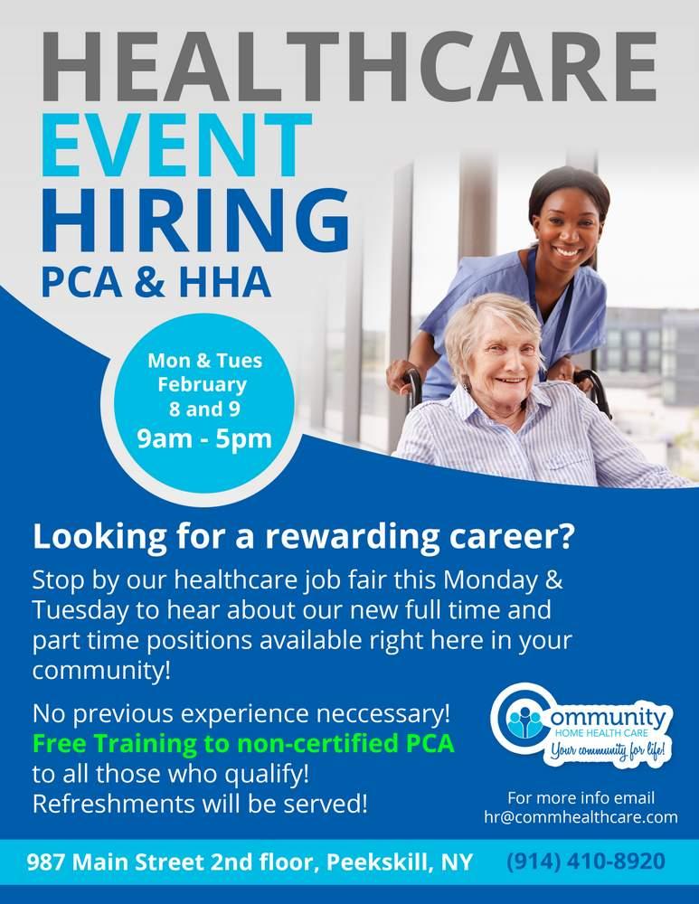 Pca Job Healthcare Caregiver Hiring Event Hiring All Caregivers Best Personal Assistant