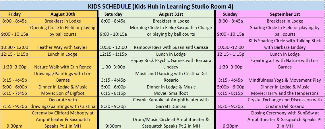 Kids schedule